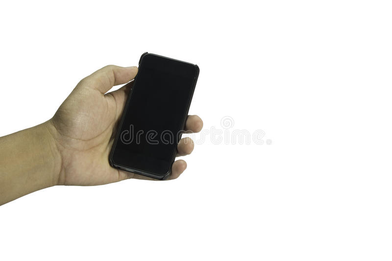 Hand of a man holding a smartphone and touching the screen. stock photos