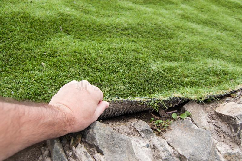 The hand of a man lifts an artificial grass cover royalty free stock photography