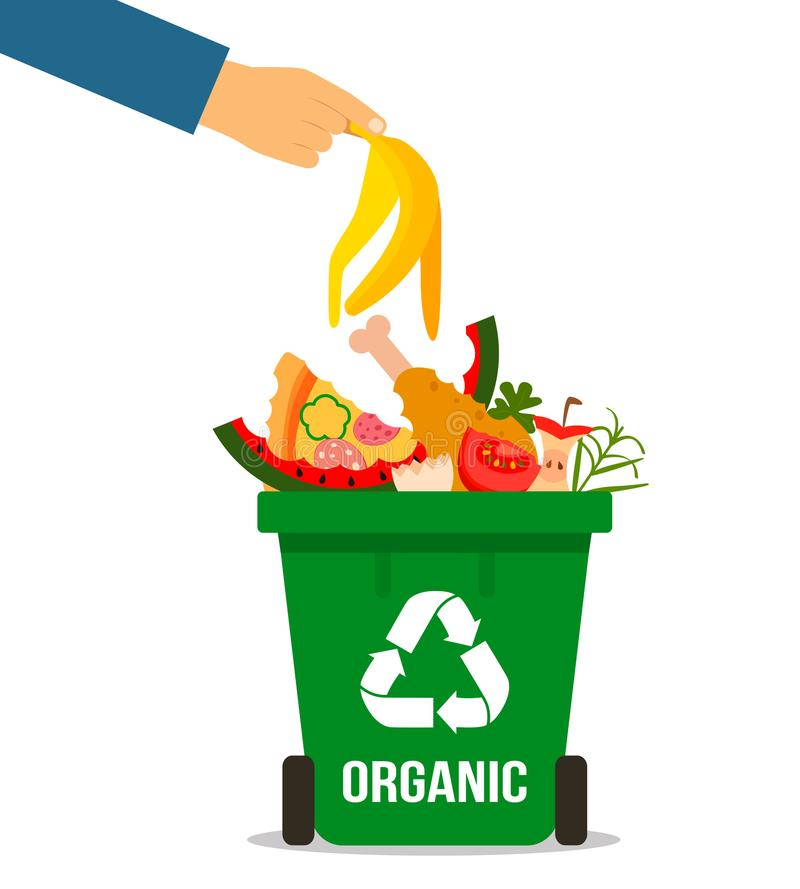 The hand of man throwing garbage into organic container. concept of garbage processing. Vector illustration in a flat style on a. The hand of man throwing royalty free illustration