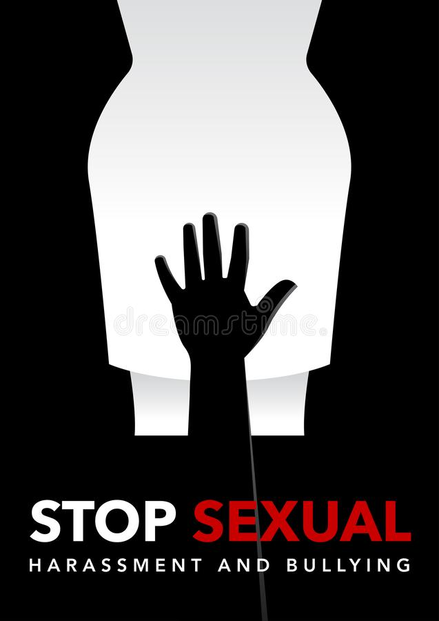 Hand of a man touching on woman groin area vector illustration stock illustration