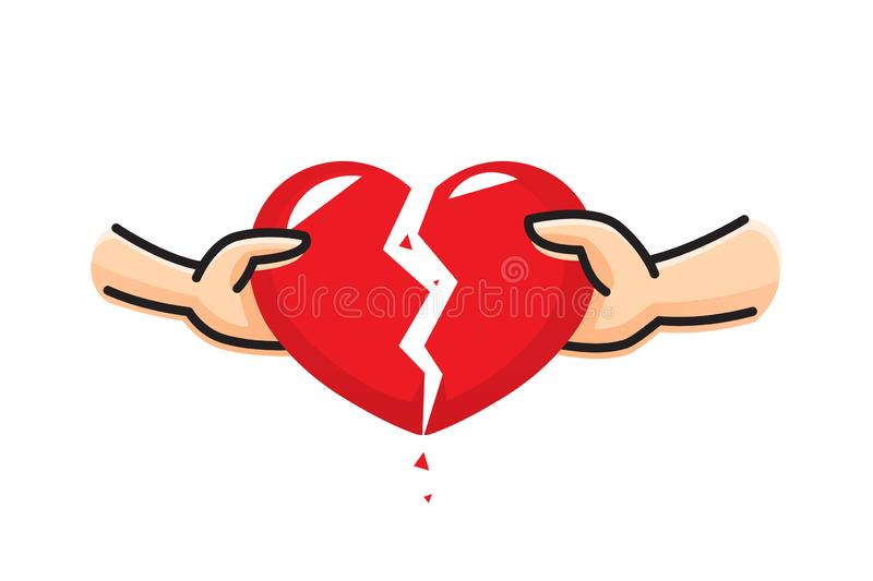 The hand of a man and the hand of a woman break the heart. Breakup heart concept. Crisis relationship divorce. Unhappy love,. Conflict. Vector illustration stock illustration