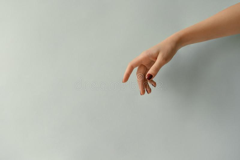Hand with manicured nails on a blank pastel background stock images