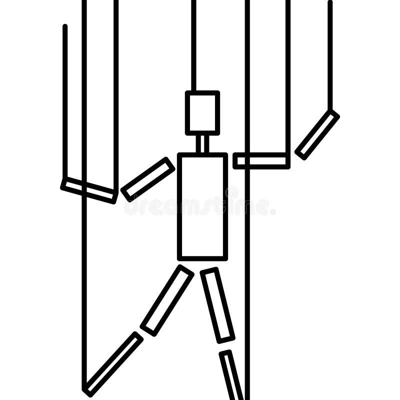 Hand, marionet, theater Illustratie vectorpictogram vector illustratie