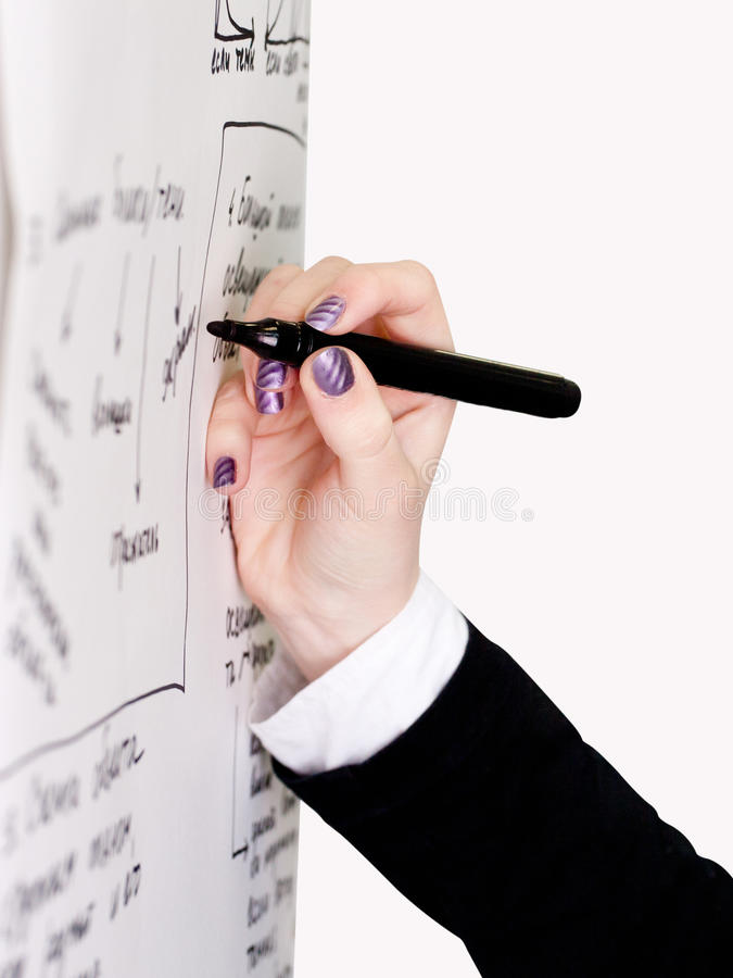 Download Hand with a marker stock image. Image of finger, learning - 23826649