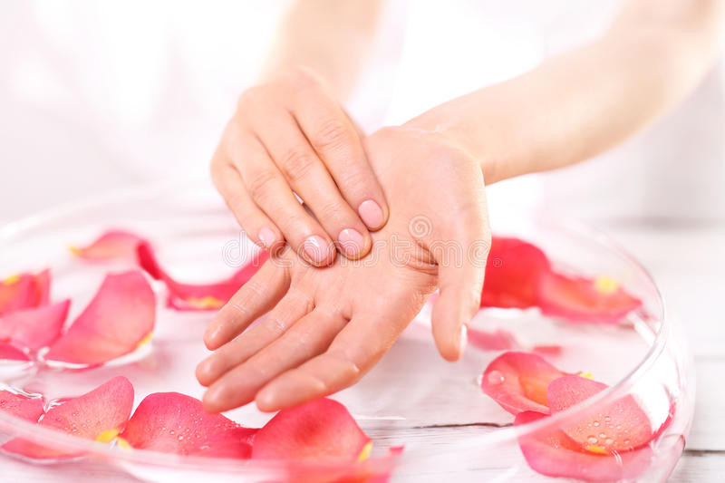 Hand massage oil stock image