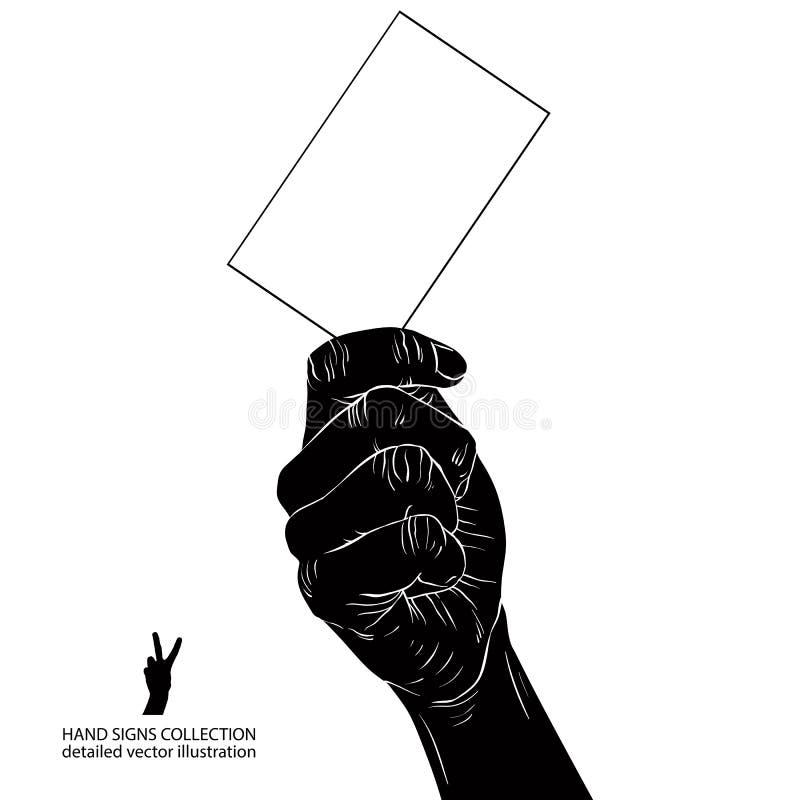 Hand med affärskortet, detaljerad svartvit vektorillustr stock illustrationer