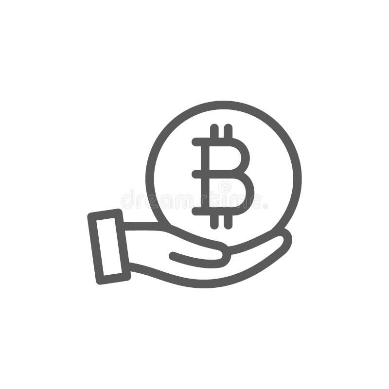 Hand med bitcoinmyntet, cryptocurrencylinje symbol royaltyfri illustrationer