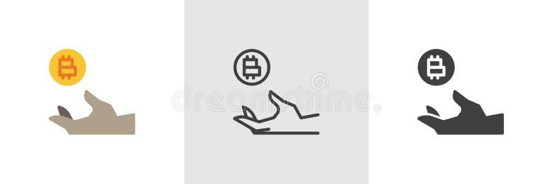 Hand med bitcoinmyntsymbolen vektor illustrationer