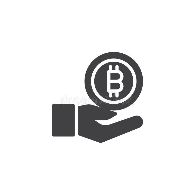 Hand med bitcoinvektorsymbolen royaltyfri illustrationer