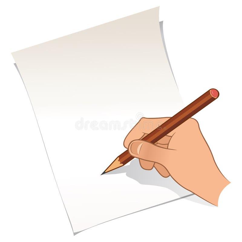 Hand med blyertspennan och papper stock illustrationer