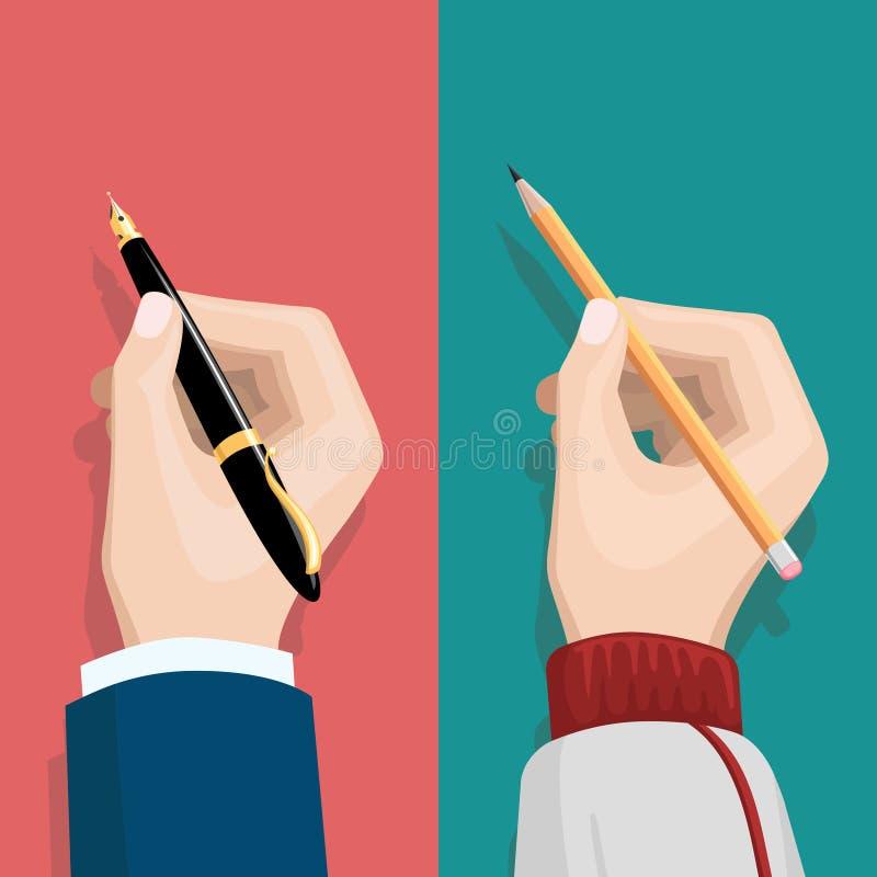 Hand med blyertspennan och pennan stock illustrationer