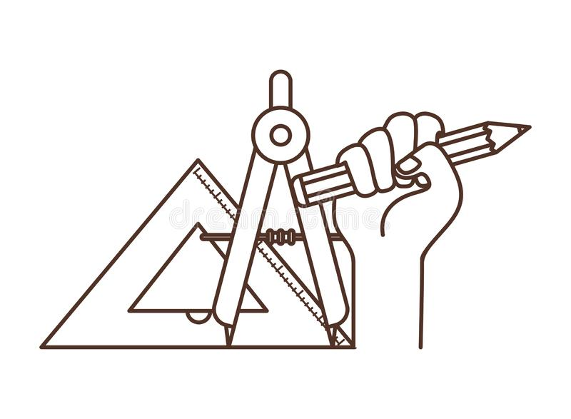 Hand med den kompass isolerade symbolen vektor illustrationer
