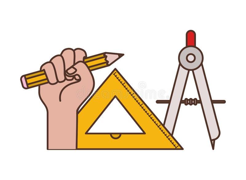 Hand med den kompass isolerade symbolen stock illustrationer