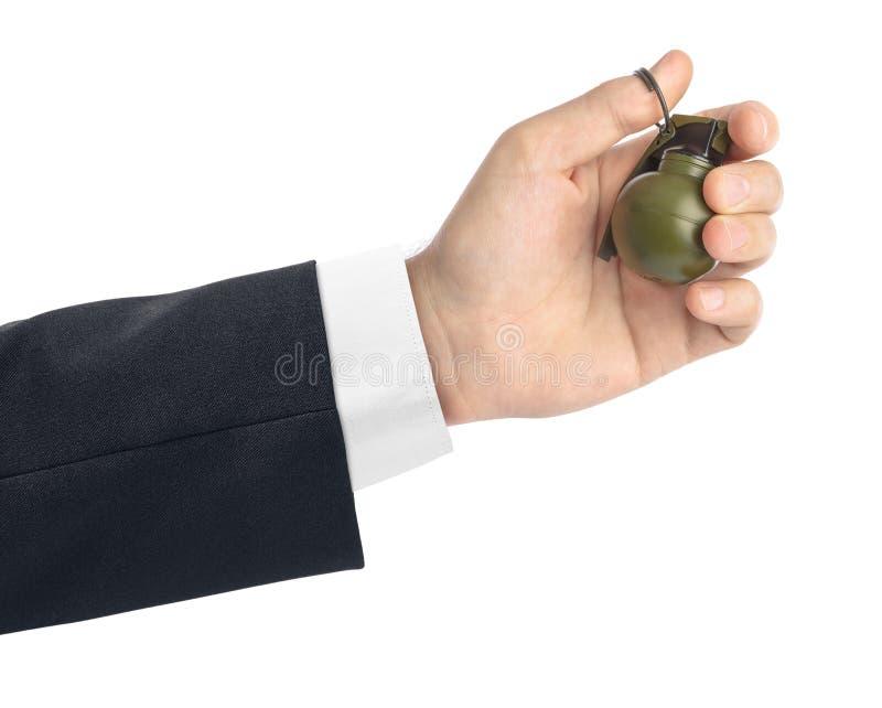 Hand med den lilla granaten arkivbilder