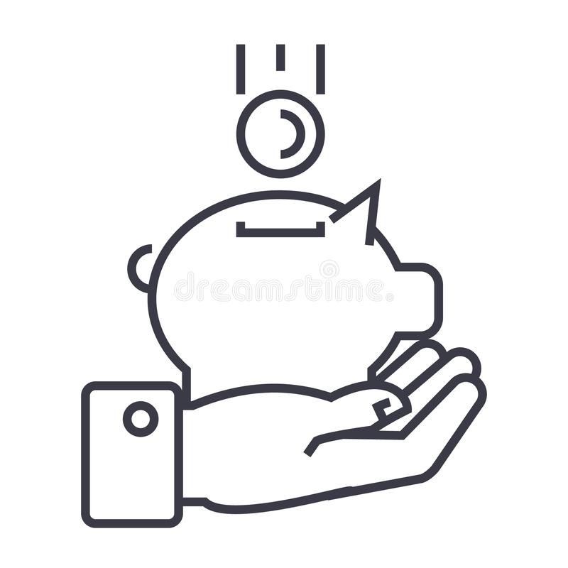 Hand med den linjära symbolen för pengarsvin, tecken, symbol, vektor på isolerad bakgrund vektor illustrationer