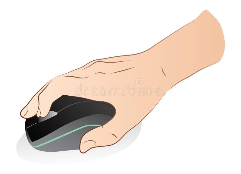 Hand med den optiska musen stock illustrationer