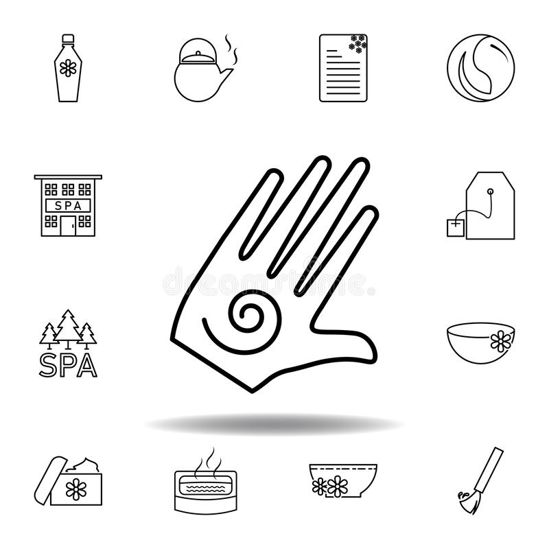 Hand med den spiral symbol?versiktssymbolen Detaljerad uppsättning av brunnsorten och att koppla av illustrationsymbolen Kan anvä stock illustrationer