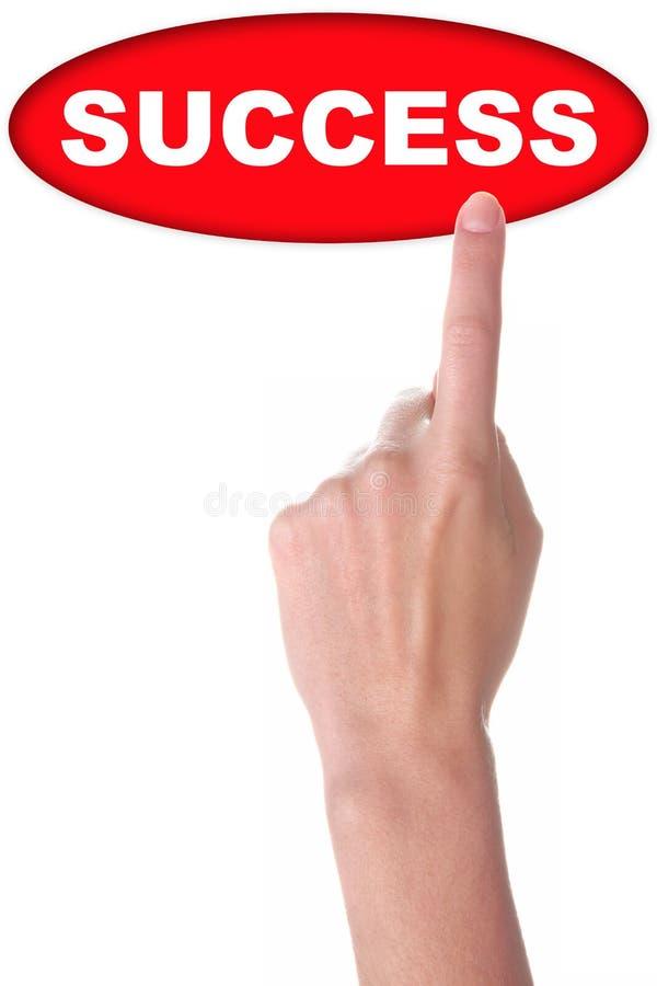 Hand med den stora röda knappen arkivbilder