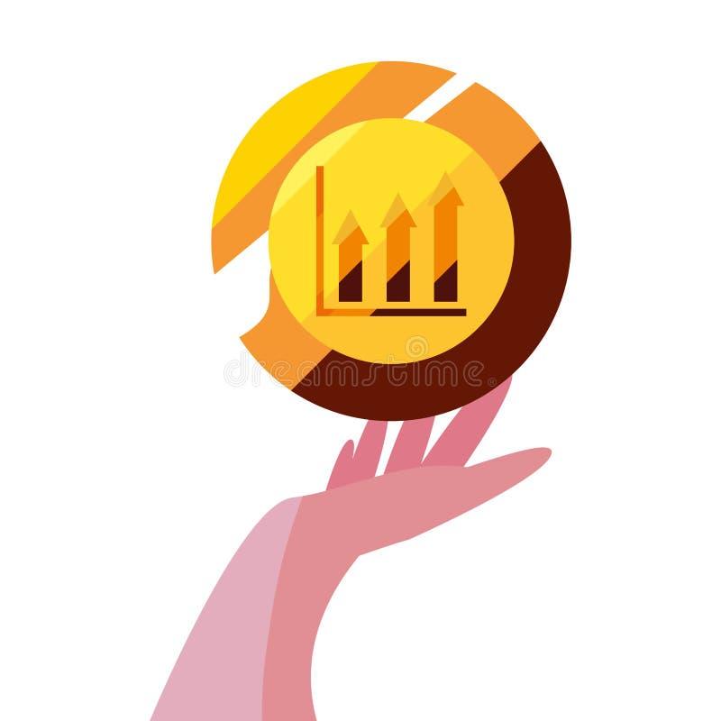Hand med diagrammet för guld- mynt stock illustrationer