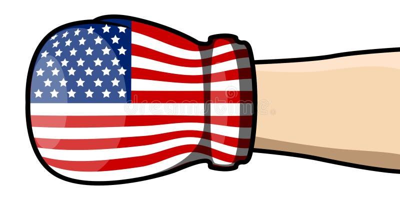 Hand med en boxas handske stock illustrationer