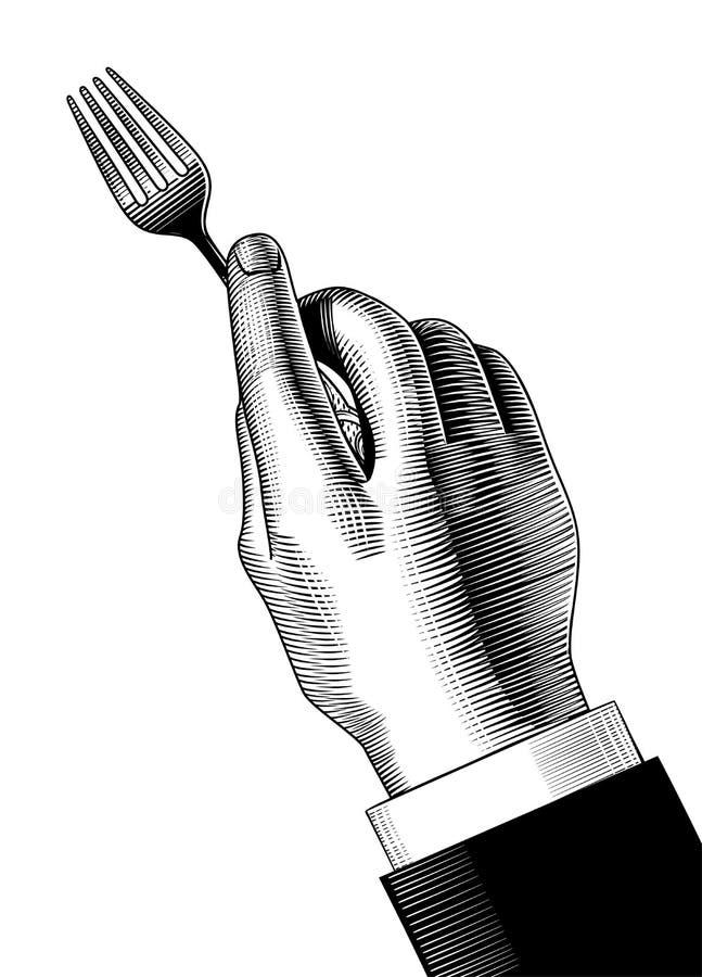Hand med en gaffel royaltyfri illustrationer