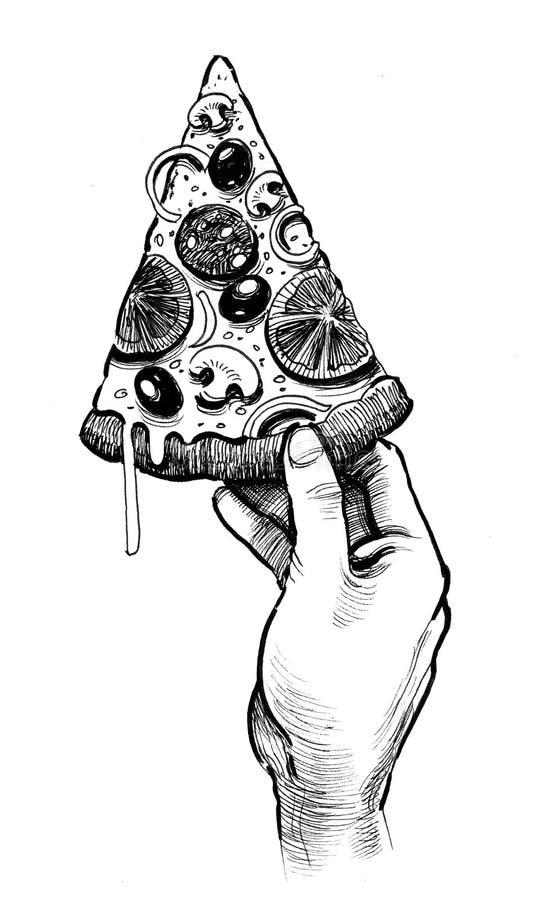 Hand med en pizza vektor illustrationer