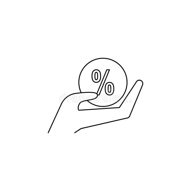 hand med en procentbollsymbol Beståndsdelen av försäljningen undertecknar för mobila begrepps- och rengöringsdukapps Tunn linje s royaltyfri illustrationer