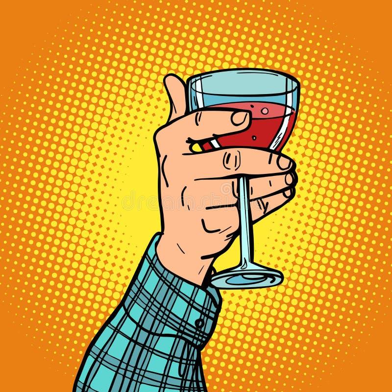 Hand med ett exponeringsglas av rött vin stock illustrationer