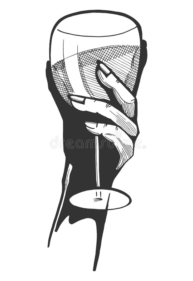 Hand med ett exponeringsglas av wine royaltyfri illustrationer