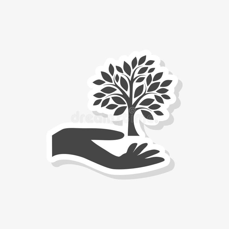 Hand med ett trädsymbol, träd i handklistermärken, enkel vektorsymbol stock illustrationer