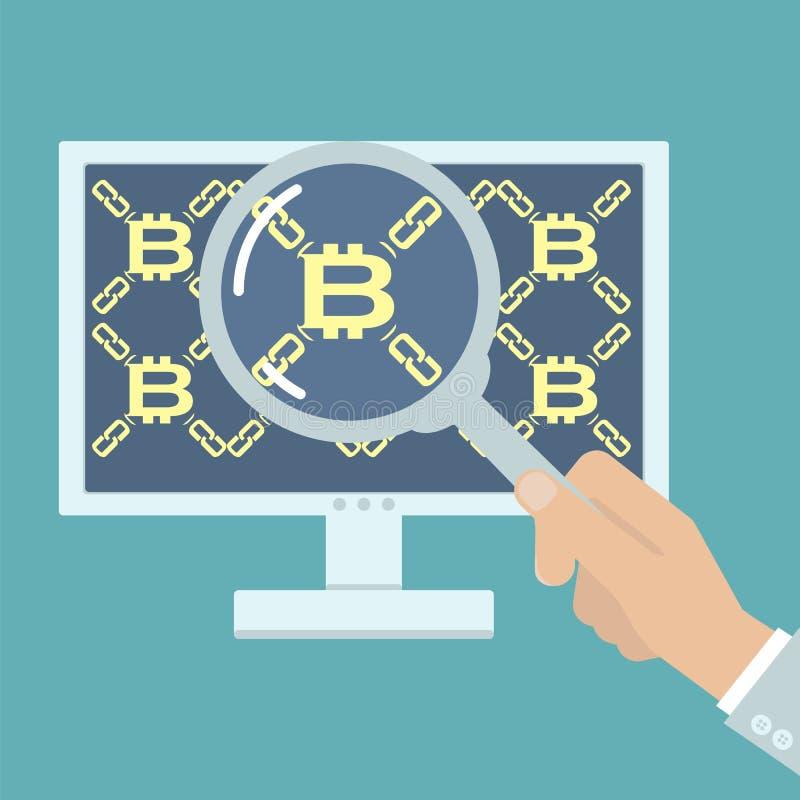 Hand med förstoringsapparaten som analyserar bitcoin vektor illustrationer