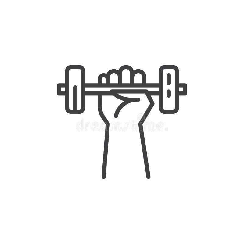 Hand med hantellinjen symbol stock illustrationer