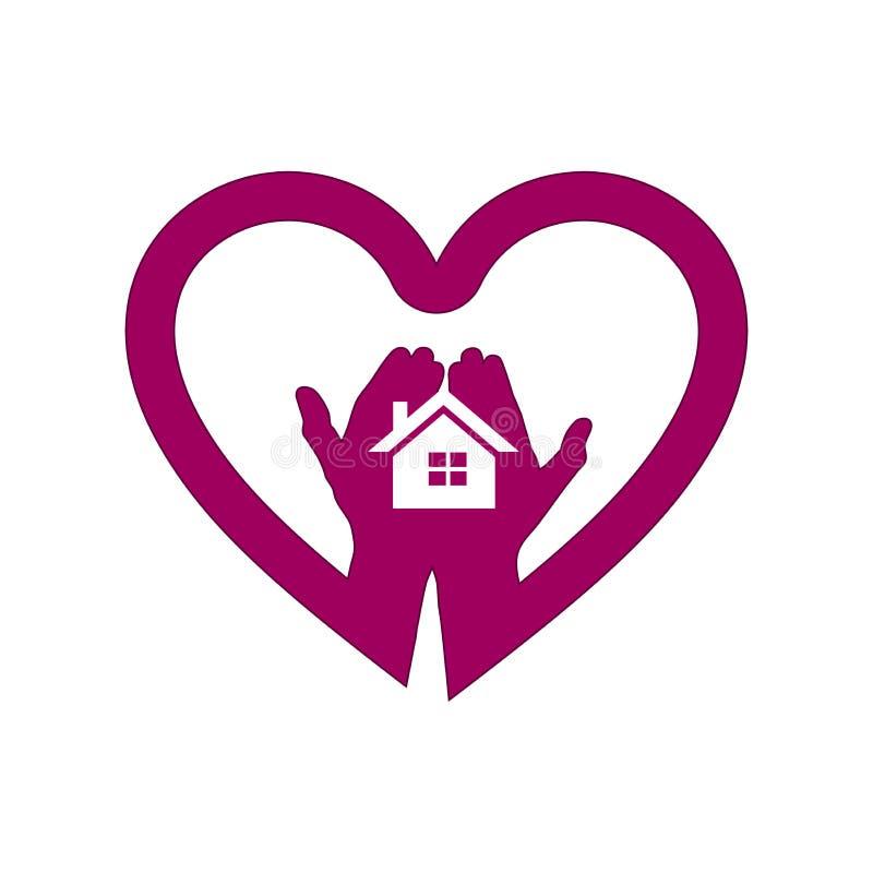 Hand med huset i hjärtasymbolslogo vektor illustrationer