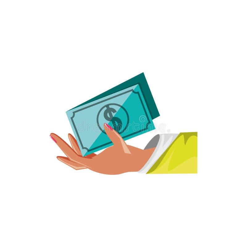 Hand med isolerade symbolen för räkning den dollar royaltyfri illustrationer