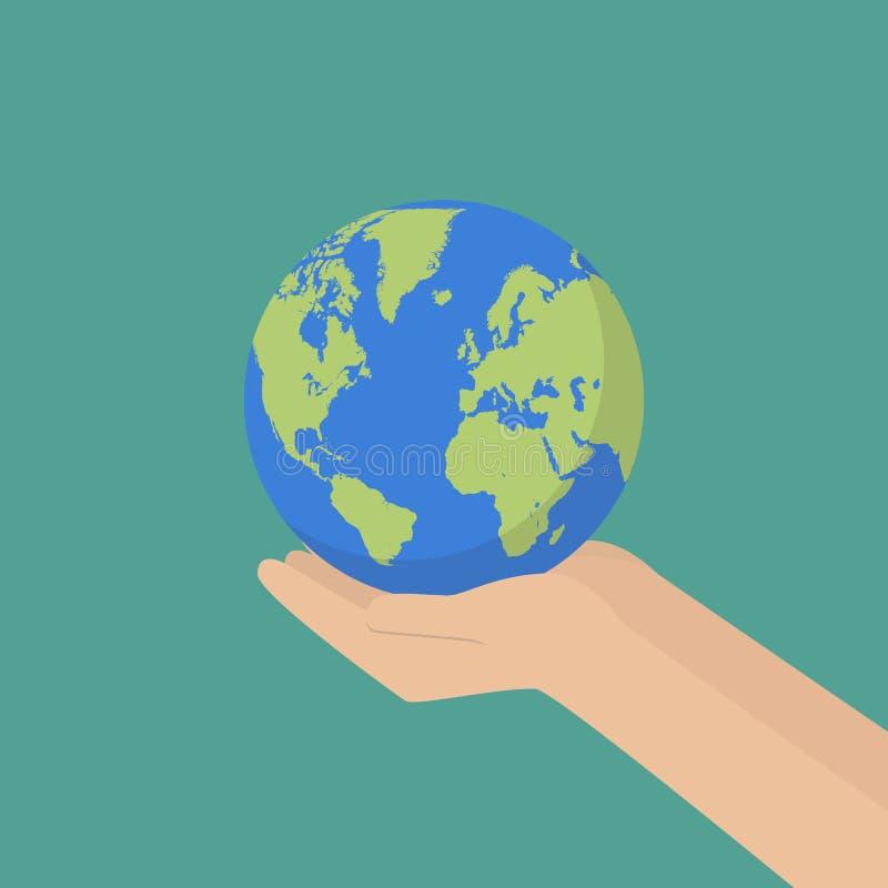 Hand med jordjordklotet royaltyfri illustrationer