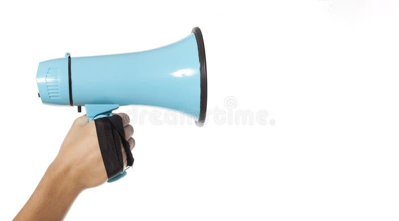 Hand med megafonen royaltyfria bilder