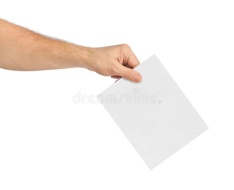 Hand med pappers- sluten omröstning royaltyfria bilder