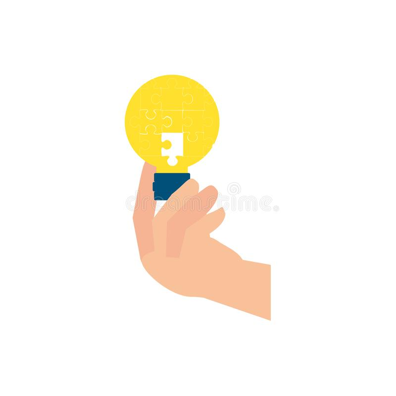 Hand med pusselstycken i formljuskula vektor illustrationer