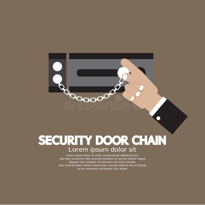 Hand med säkerhetsdörrkedjan royaltyfri illustrationer