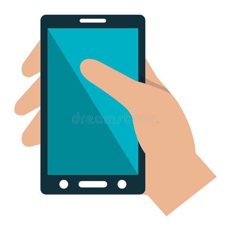 Hand med smartphoneapparaten vektor illustrationer