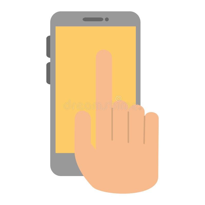 Hand med smartphoneapparaten stock illustrationer