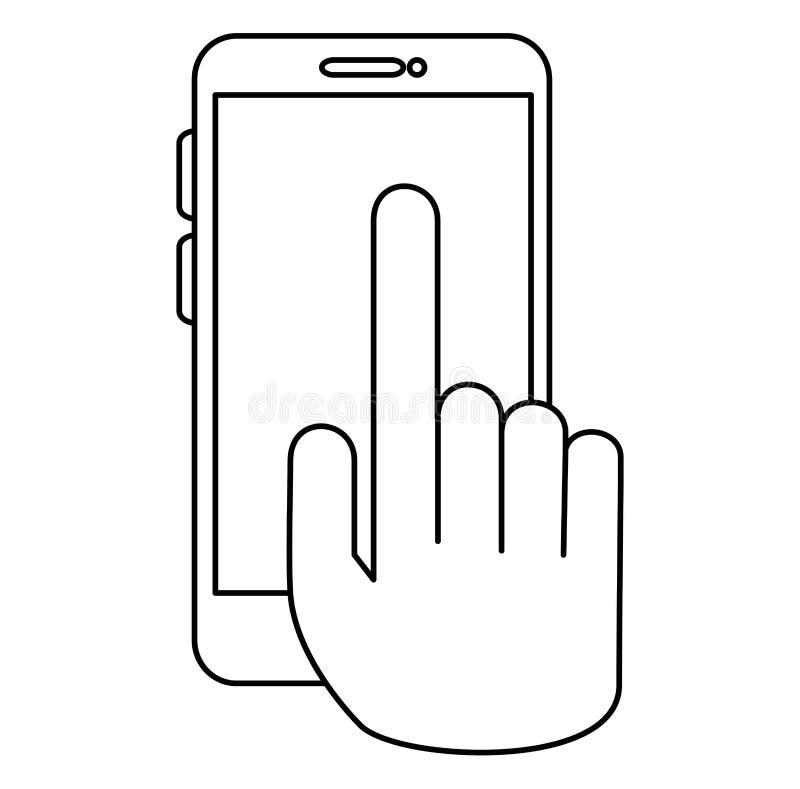 Hand med smartphoneapparaten royaltyfri illustrationer