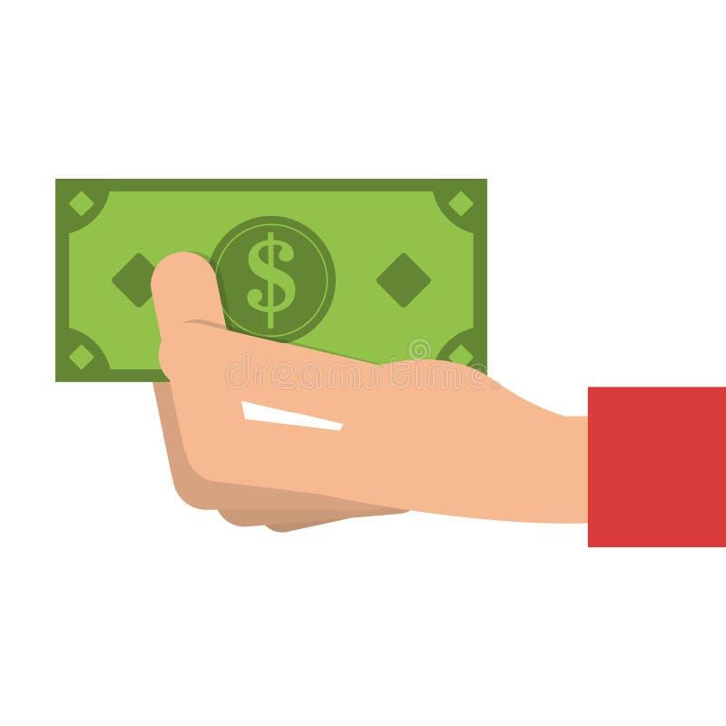 hand med symbolen för dollarräkning royaltyfri illustrationer