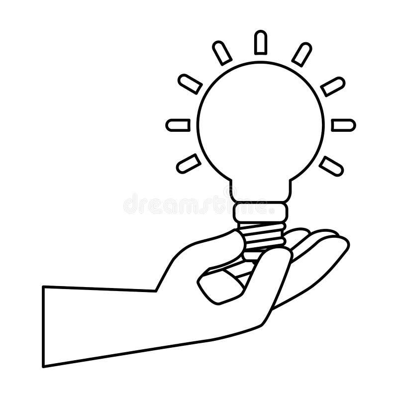 Hand med symbolen för spararekulaenergi vektor illustrationer