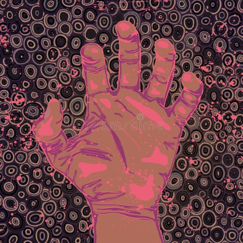 Hand med symboliskt, droger, fördjupning, agression royaltyfri illustrationer