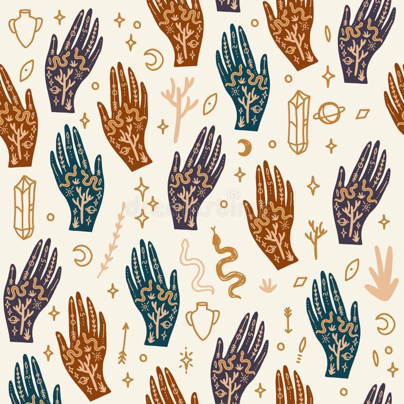 Hand med tatueringen Kristaller, ormar och kaktusväxter white f?r sk?ld f?r bakgrunds?gonprovidence Månegudinnasymbol Astrologi,  vektor illustrationer