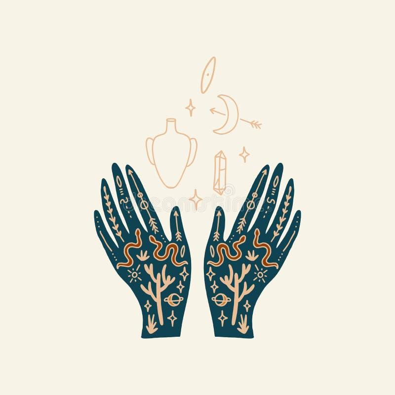 Hand med tatueringen Kristaller, ormar och kaktusväxter white f?r sk?ld f?r bakgrunds?gonprovidence Månegudinnasymbol Astrologi,  stock illustrationer
