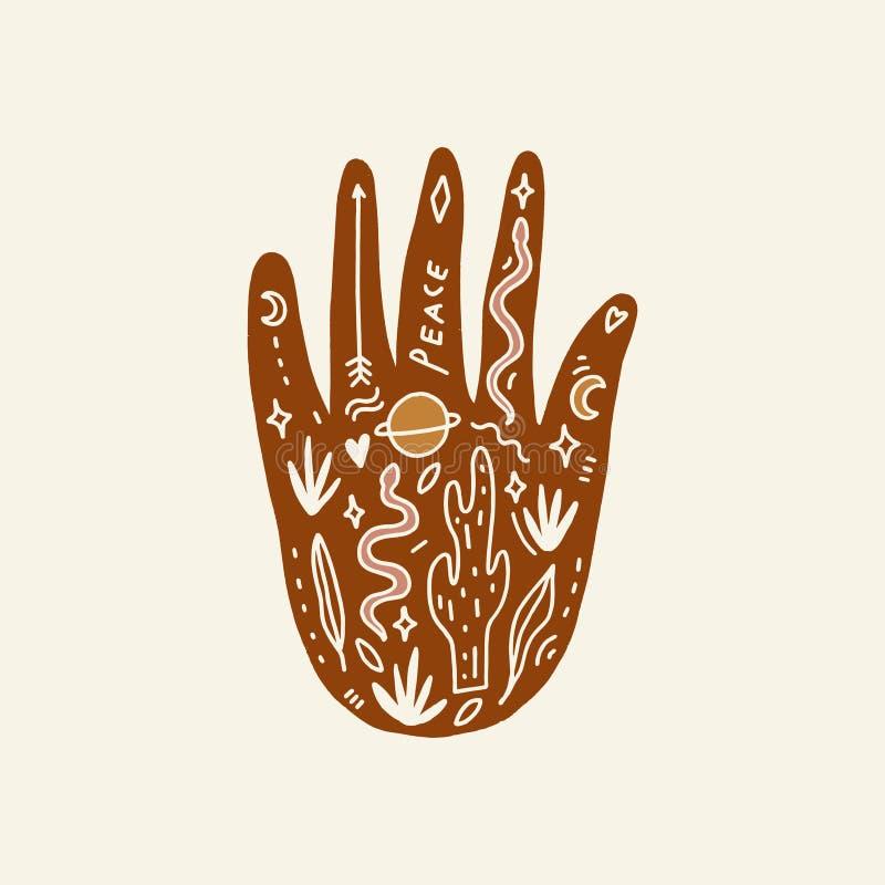 Hand med tatueringen Kristaller, ormar och kaktusväxter white f?r sk?ld f?r bakgrunds?gonprovidence Månegudinnasymbol Astrologi,  royaltyfri illustrationer