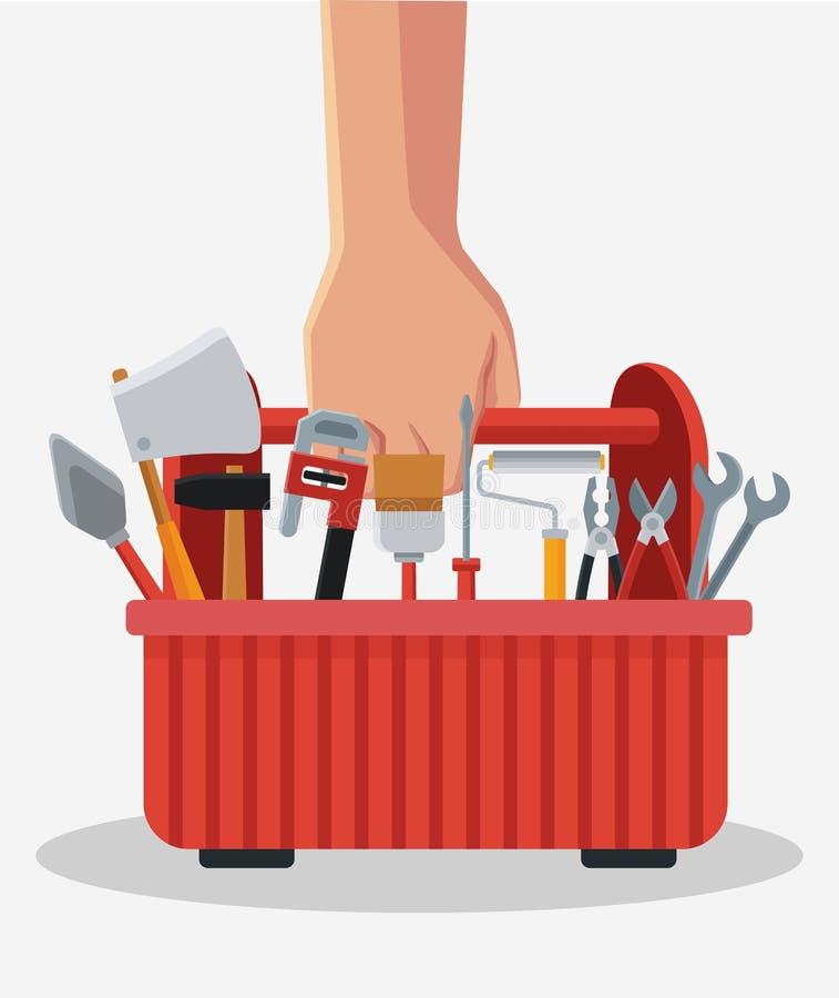 Hand med toolboxen royaltyfri illustrationer