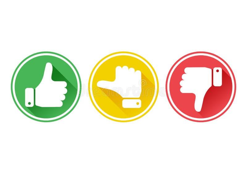 Hand med tummen i gröna, gula och röda knappar vektor royaltyfri illustrationer